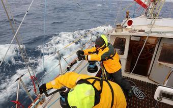 """SELMA"" Rejs Trawers Shackletona - podczas zwrotu, fot. SelmaExpeditions"